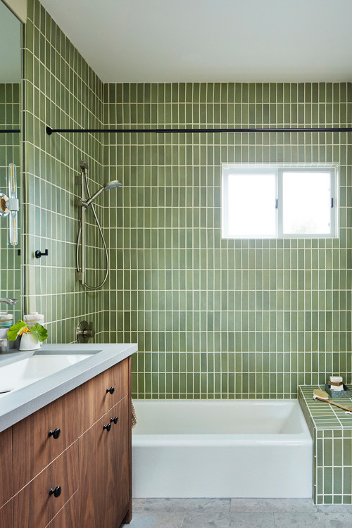 Traditional Bathroom with Earthy Green Tile