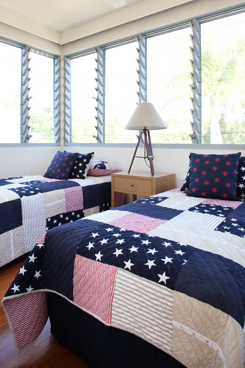Patriotic Patchwork Quilts on Twin Beds