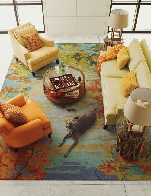 Colorful Rug in Contemporary Living Room