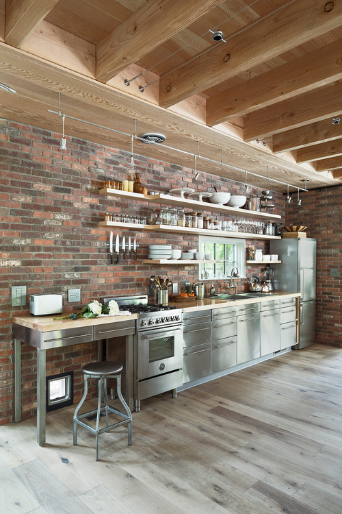 Industrial Style Kitchen with Brick Wall and Wood Ceiling