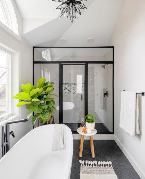 Free Standing Bath Tub and Walk In Shower