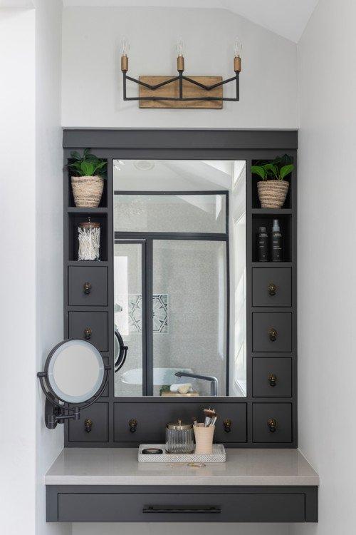 Gray Makeup Vanity in Master Bathroom