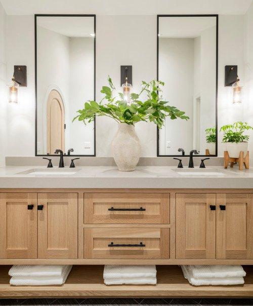 Double sink modern wood bathroom vanity