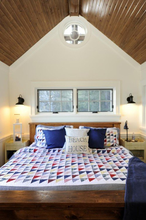 Cabin Style Bedroom with Summer Textile Quilt
