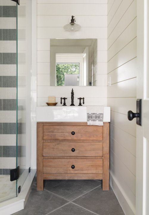 Gray and White Bathroom with Tile Floor