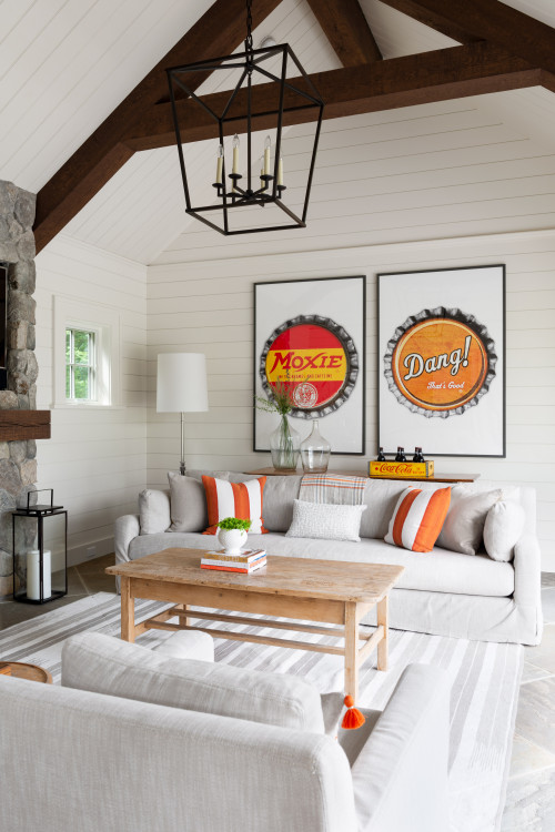 Cute Pool House with Graphic Art Bottle Cap Signs