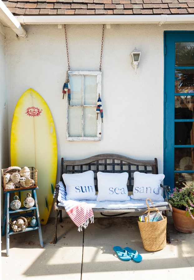 Surfside Style with Outdoor Bench and Surfboard