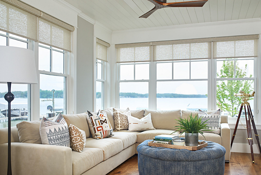Beach Style Living Room with Walls of Windows
