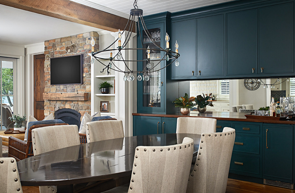 Navy Blue Dining Room in Lake Cottage