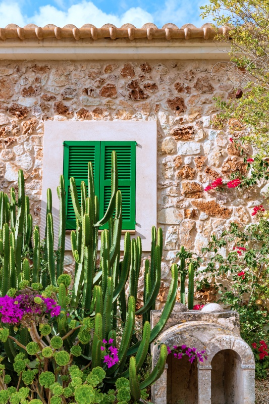 Traditional spanish finca house from Majorca, Spain with Cactus in the Garden