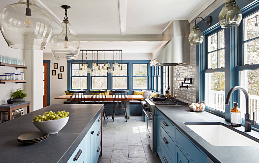 Modern Country Kitchen with Blue Cabinets and Black Counter Tops