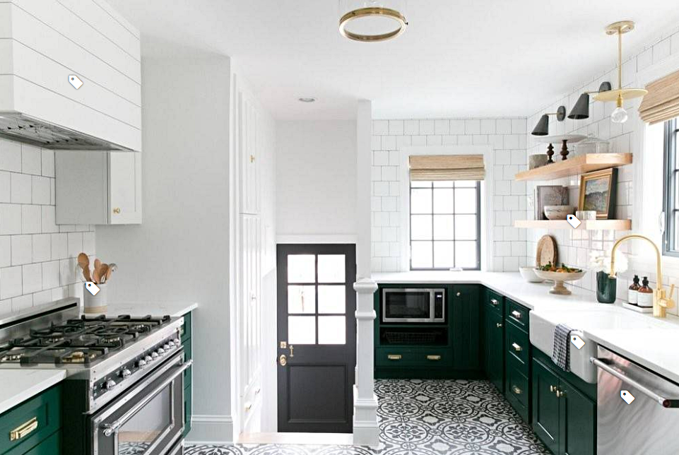 Patterned Floor in a Modern Country Kitchen with Industrial Style Stove