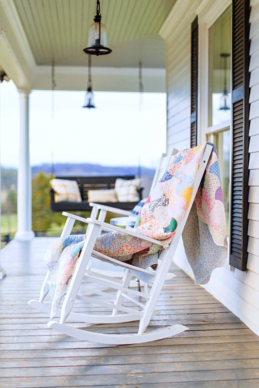 White Wood Rocker with Hand Sewn Quilt
