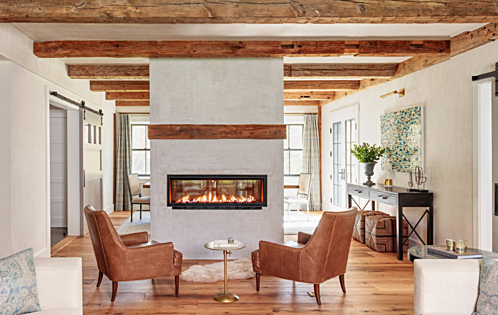 See-Through Fireplace in Modern Country Farmhouse