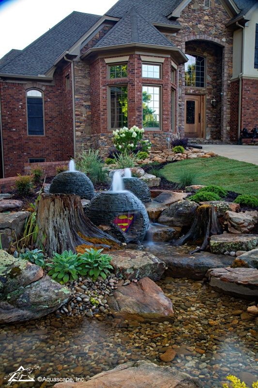 Aquascape Stacked Slate Sphere Fountains in Waterfall