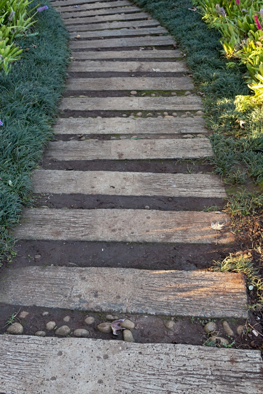A close up view of a path make from old wood in an outdoor garden