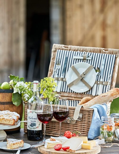 Summer Picnic Basket with Wine and Cheese