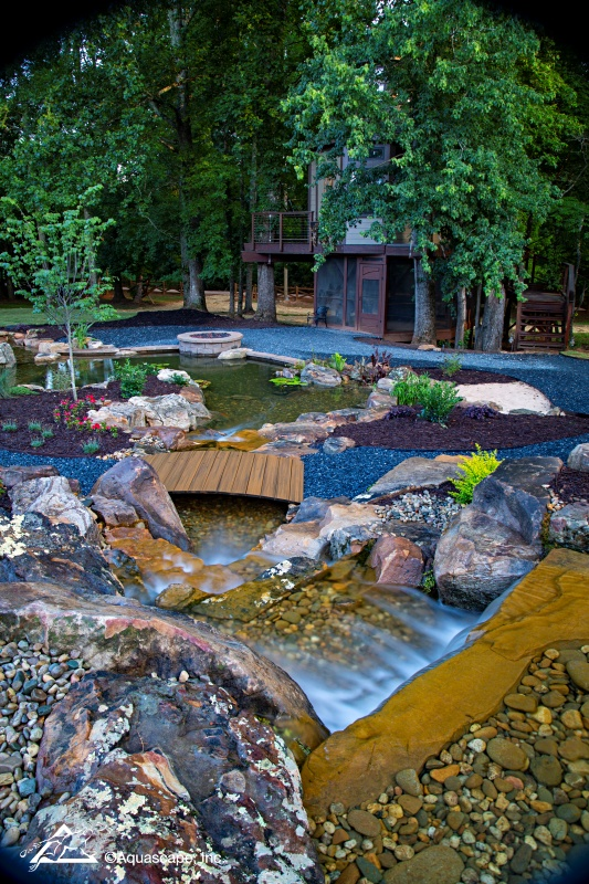 Waterfall and Pond by Tree House