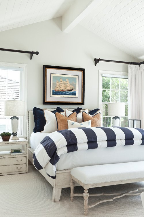 Nautical Bedroom with Large Sailboat Painting