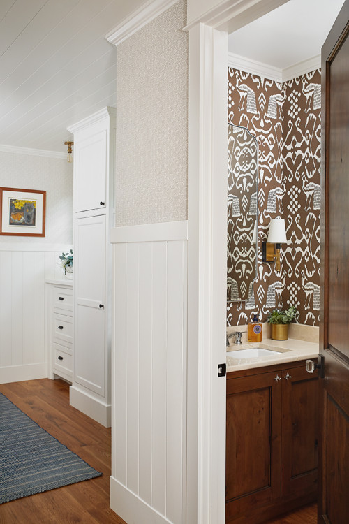 Cozy Earth Tone Powder Room in Lake Cottage
