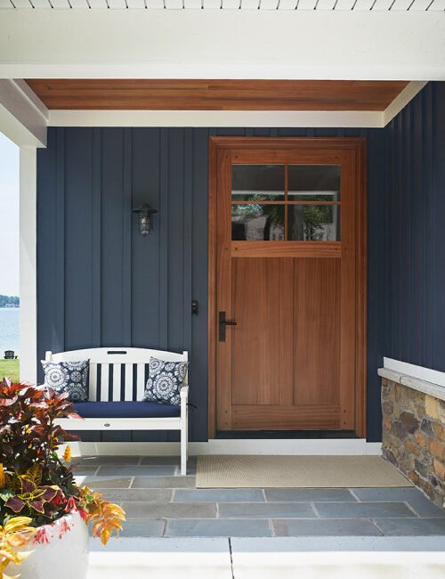 Custom Wood Front Door on a Cozy Blue Cottage