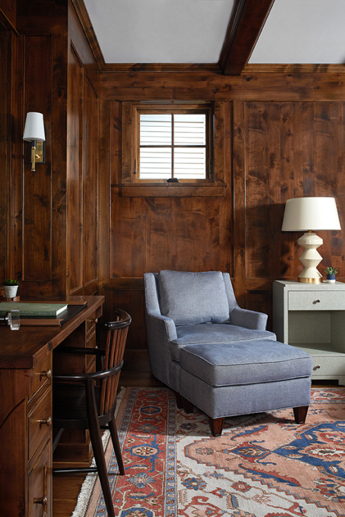 Home Office with Rich Wood Paneled Walls