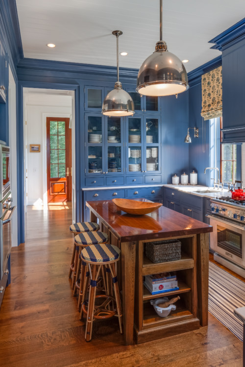 Modern Country Kitchen with Blue Painted Cabinets and Kitchen Island