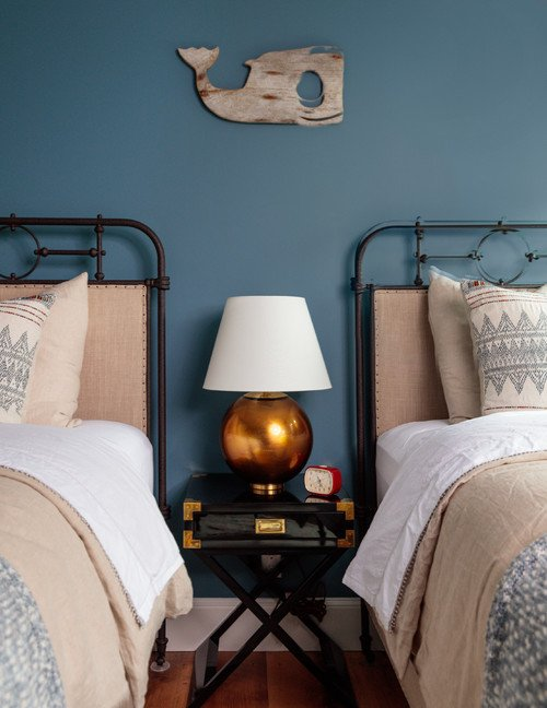 Twin Iron Metal Beds in Blue Bedroom