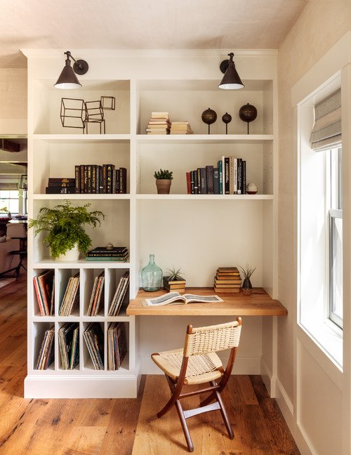 Home Office with Built-In Shelves