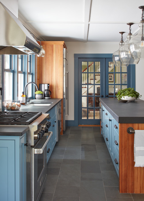 Farmhouse kitchen with shaker style kitchen cabinets and French doors