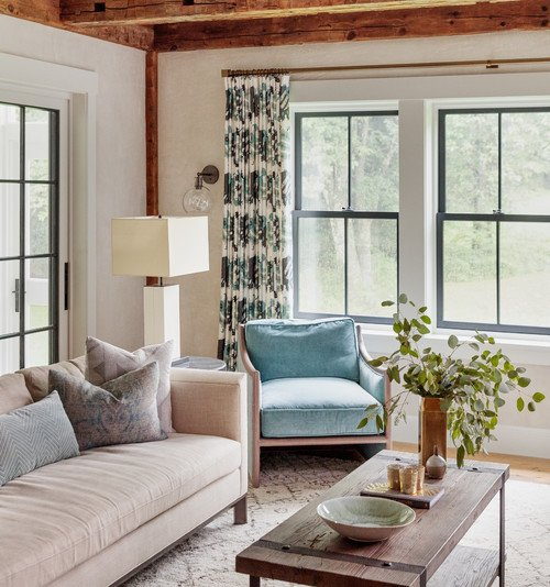 Berkshire Farmhouse Living Room in Blues and Tans