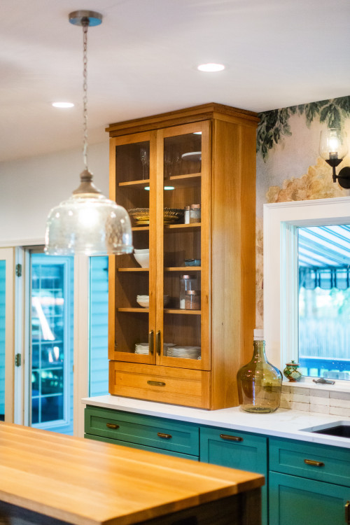 Natural Wood Cabinet in Eclectic Kitchen