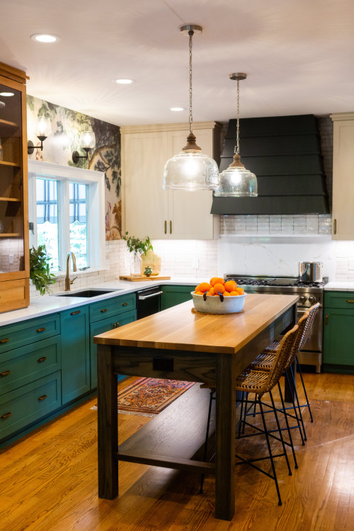 Mixed Kitchen Finishes with Green Cabinets and More