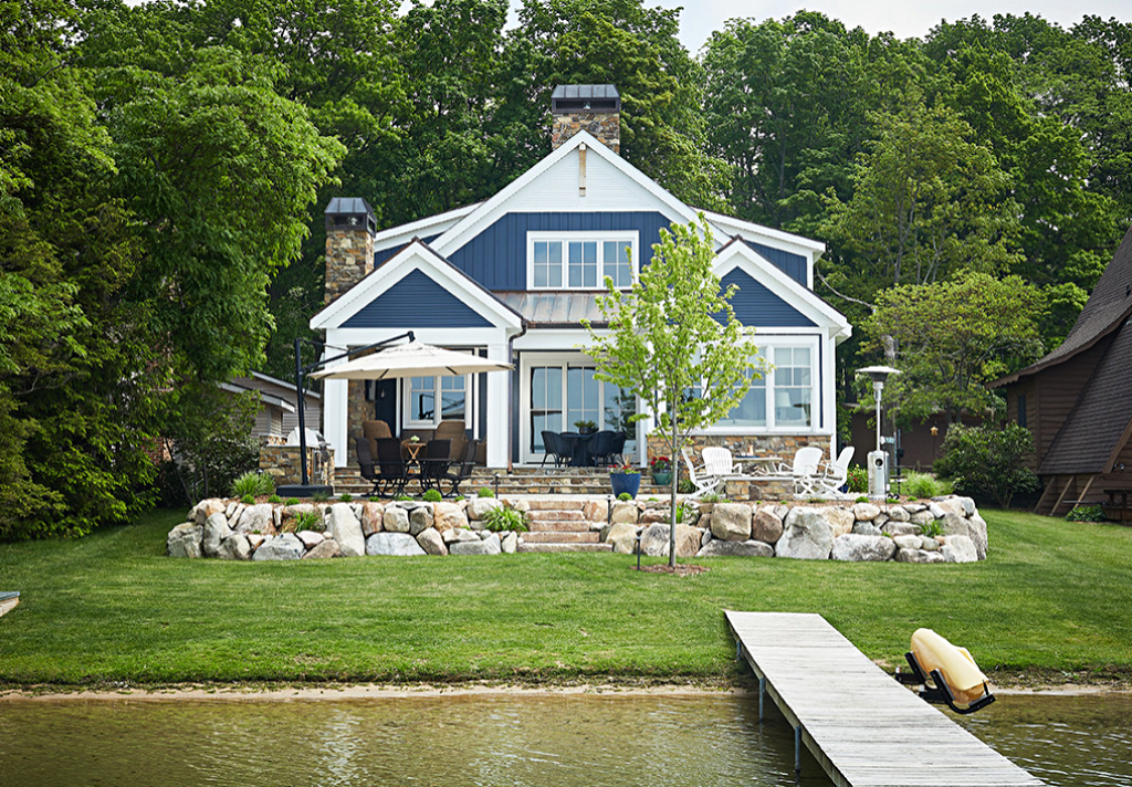 Blue and White Cozy Lake Cottage