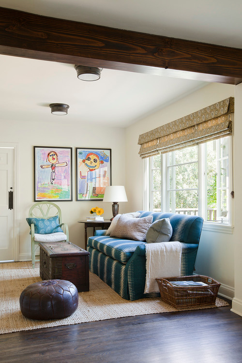 Small Family Room with Kids Art Work