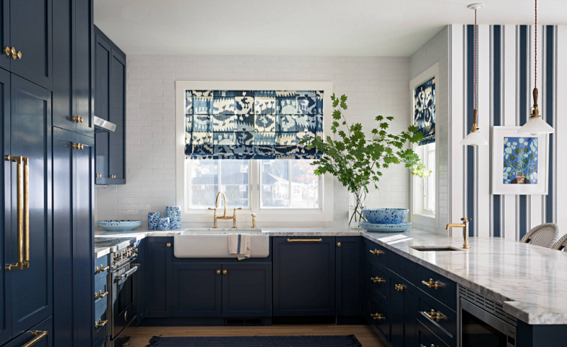 Navy and White Kitchen in Patriotic Beach House