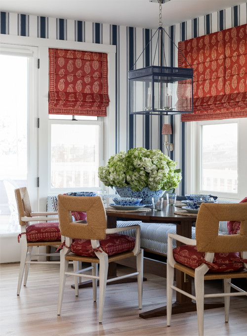 Charming Breakfast Nook in Red White and Blue