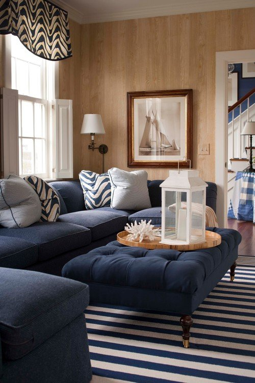 Beautiful Coastal Style Living Room in Blue, Tan, and White