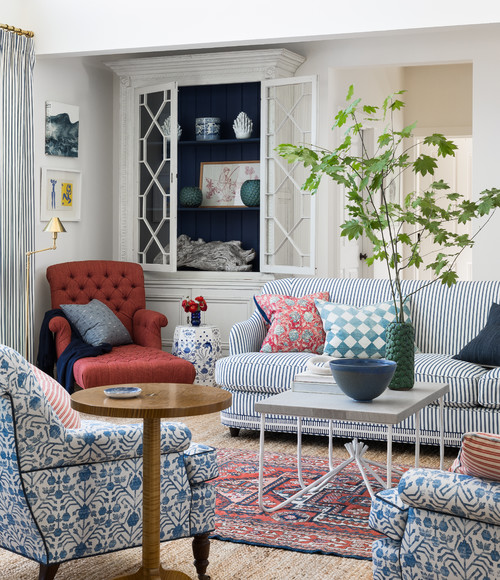 Traditional Living Room Decorateed in Red, White, and Blue