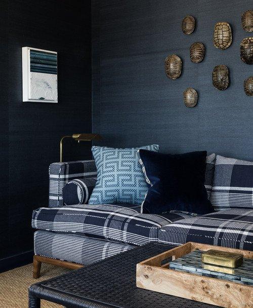 Dark Blue Den with Grass Cloth Wallpaper