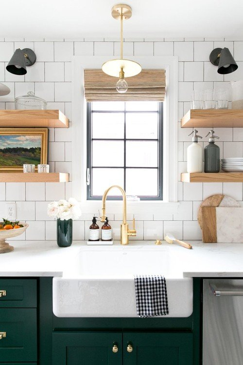 Modern Country Style Kitchen with Open Floating Shelves