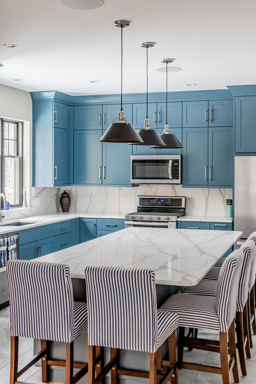 Pale Blue Modern Country Kitchen with Large Island