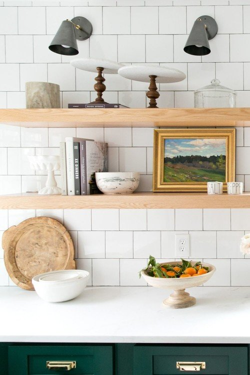 Floating Wood Shelves in a Green and White Kitchen
