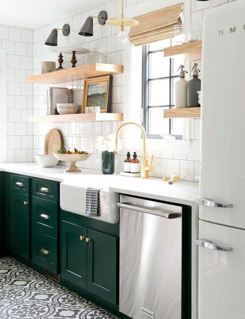 Green and White Kitchen in Denver Tudor