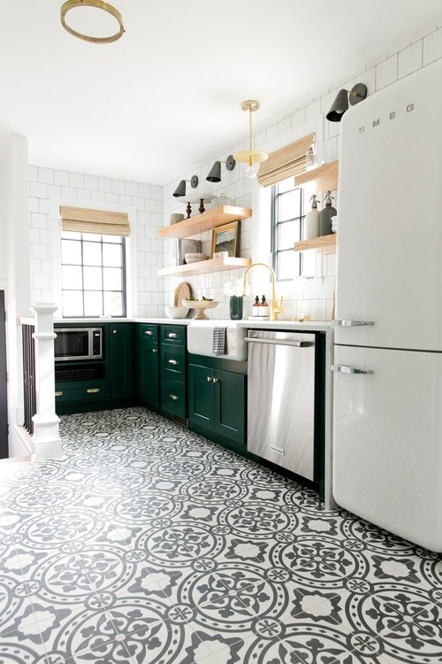 Green and White Kitchen with Patterned Floor in Denver Tudor