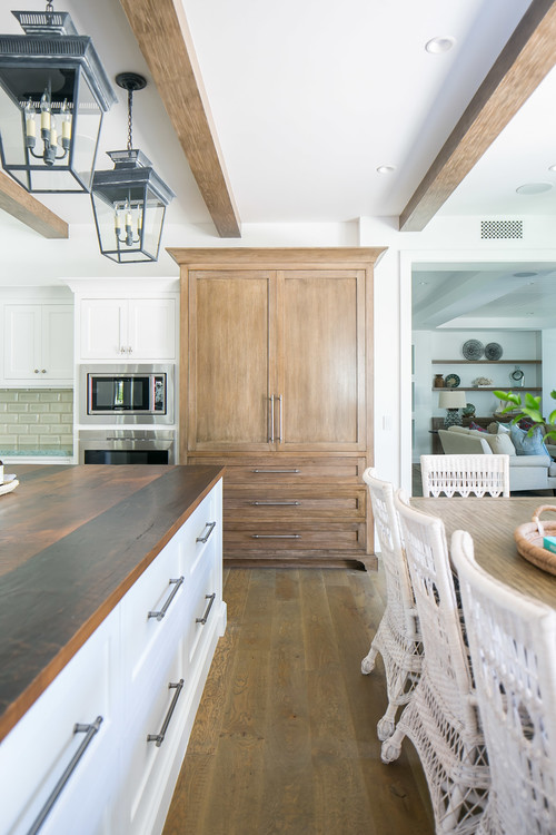 Wood Armoire in Tropical Inspired Kitchen