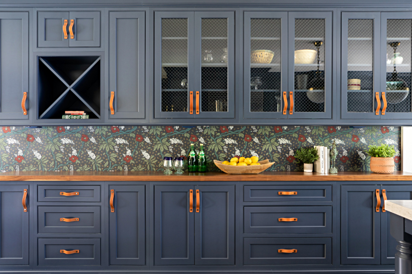 Custom Dark Blue Cabinetry in Tudor Style Home