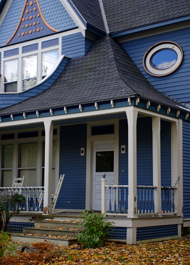 Blue Victorian House with Front Porch in Vermont - and more front porches