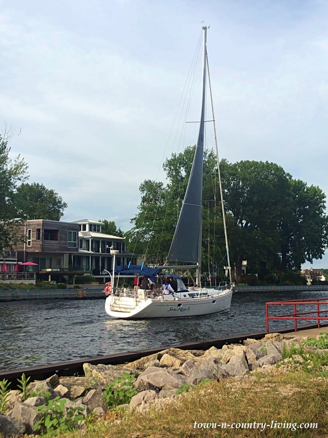 Boat on Black River in Michigan