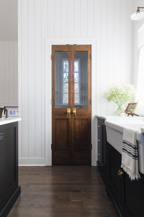Wood Pantry Doors in Modern Farmhouse Kitchen